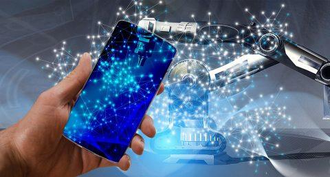Un teléfono móvil conectado a un sistema de inteligencia artificial.